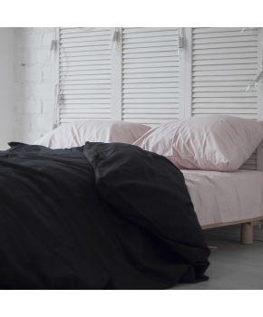 Постельное белье поплин Персиковая пудра/Черный