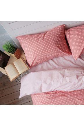 Постельное белье поплин Персиковая пудра/Розовый горох
