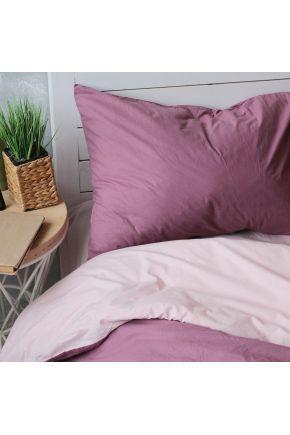 Постельное белье поплин Персиковая пудра/Виолет