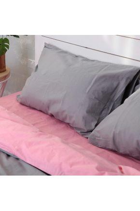 Постельное белье поплин Розовый/Темно-серый