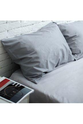 Постельное белье поплин Светло-серый/Темно-серый