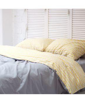 Постельное белье поплин Темно-серый/Желтый зигзаг