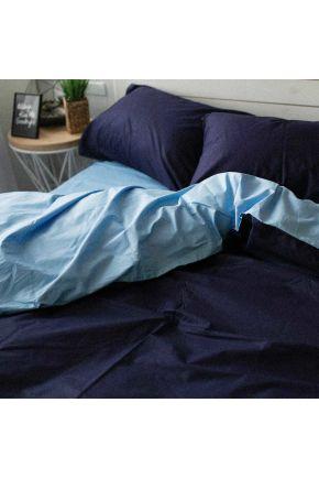 Постельное белье поплин Темно-синий/Голубой