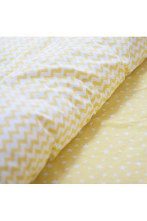 Постельное белье поплин Желтая звездочка/Желтый зигзаг
