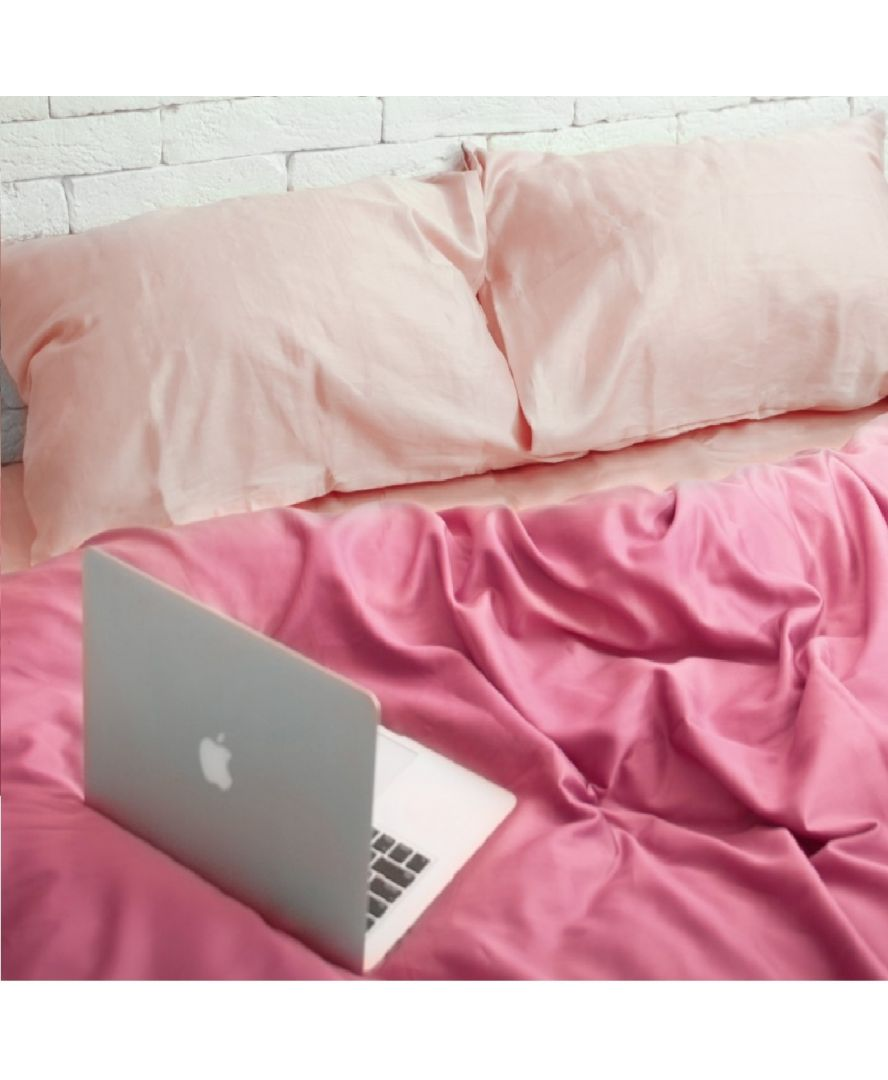 Постельное белье сатин Нежный персик/Розовый
