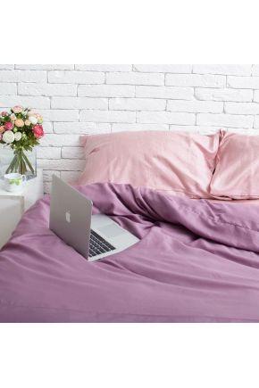 Постельное белье сатин Розовый жемчуг/Виолет