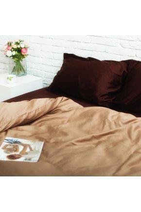 Постельное белье сатин Шоколад/Золотистый каппучино