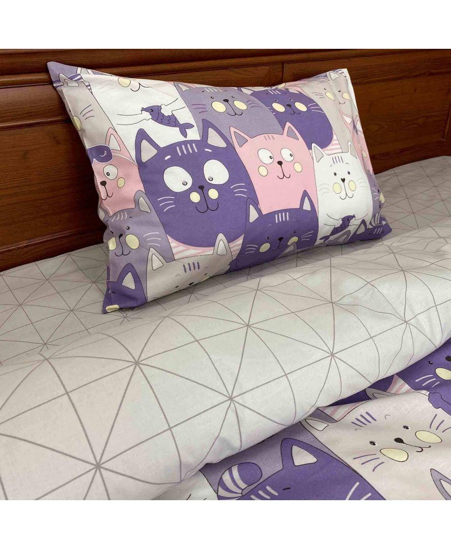 Комплект постельного белья детский Котики лиловые