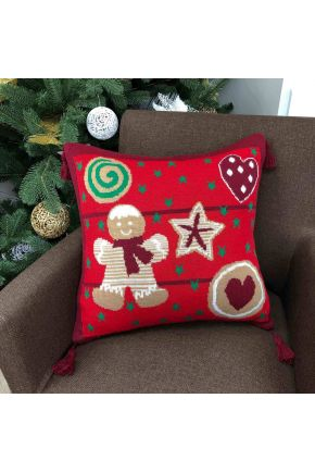 Новогодняя подушка Печенье красное