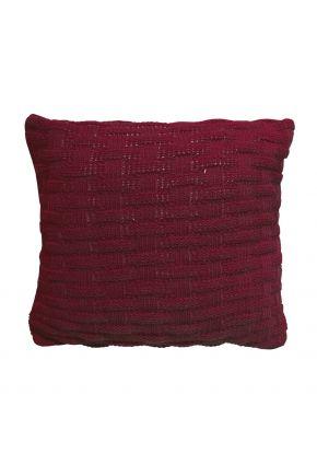 Декоративная подушка вязаная бордо