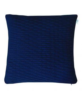 Декоративная вязаная наволочка шато темно-синяя