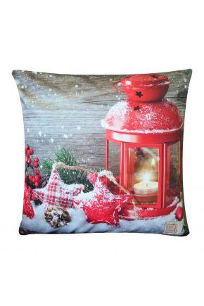 Новогодняя подушка Красное сияние
