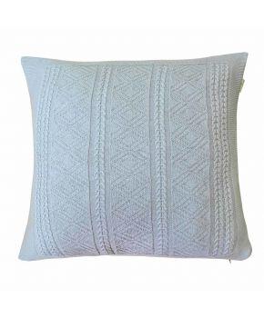 Вязаная подушка Ажурная серая