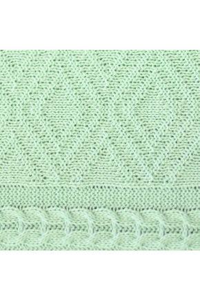 Вязаная подушка Ажурная мятная