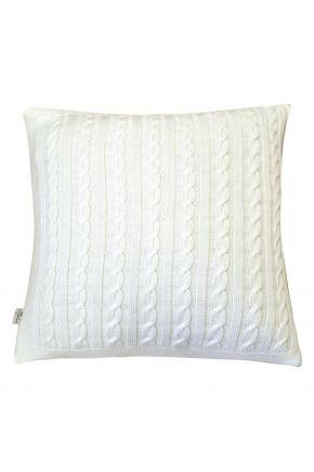 Вязаная подушка косы SOFT молочная