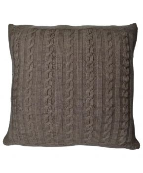 Вязаная подушка косы SOFT орех