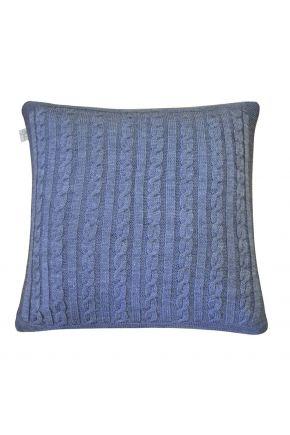 Вязаная подушка косы SOFT синий меланж