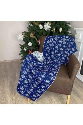 Новогодний плед Снежинка синяя с люрексом