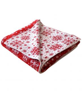 Новогодний плед бело-красная снежинка
