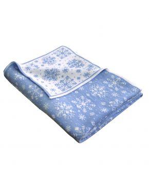 Новогодний плед бело-голубая снежинка