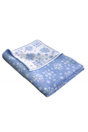 Новогодняя наволочка бело-голубая снежинка