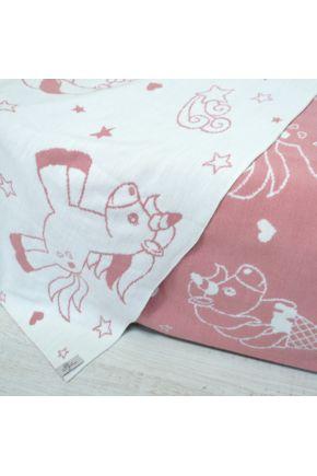 Плед вязаный детский Единорог розовый