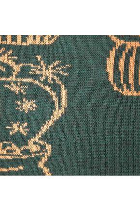 Плед вязаный Кактус зеленый с бежевым