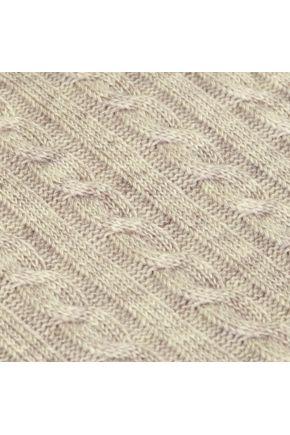 Вязаный плед косы SOFT латте