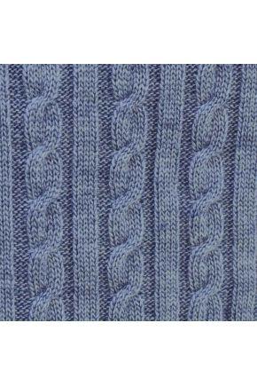 Вязаный плед косы SOFT синий меланж