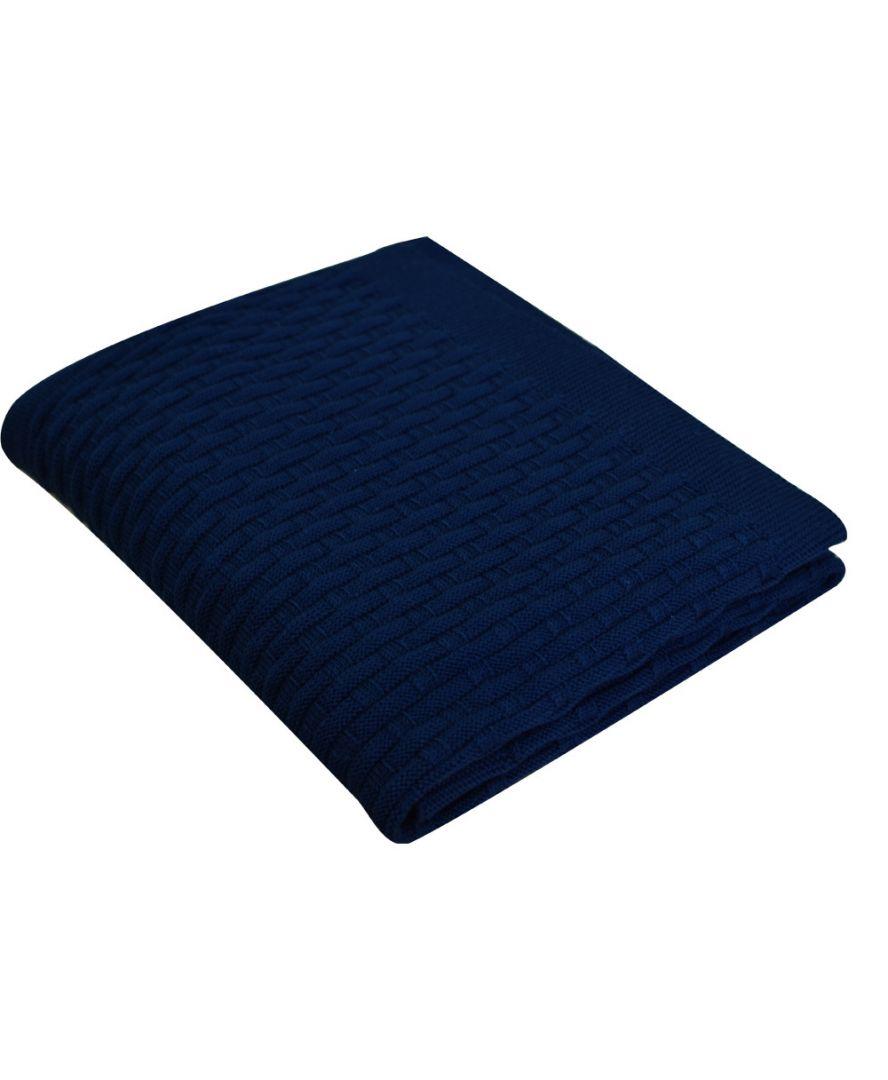 Вязаный плед Шато темно-синий