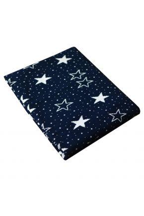 Вязаный плед  Stars синий с белым