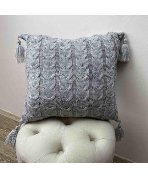 Вязаная подушка Глория косы Серая