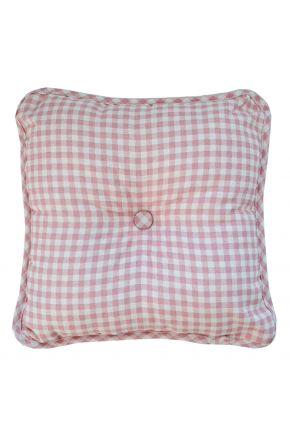 Декоративная подушка с пуговкой Bella Розовая клеточка