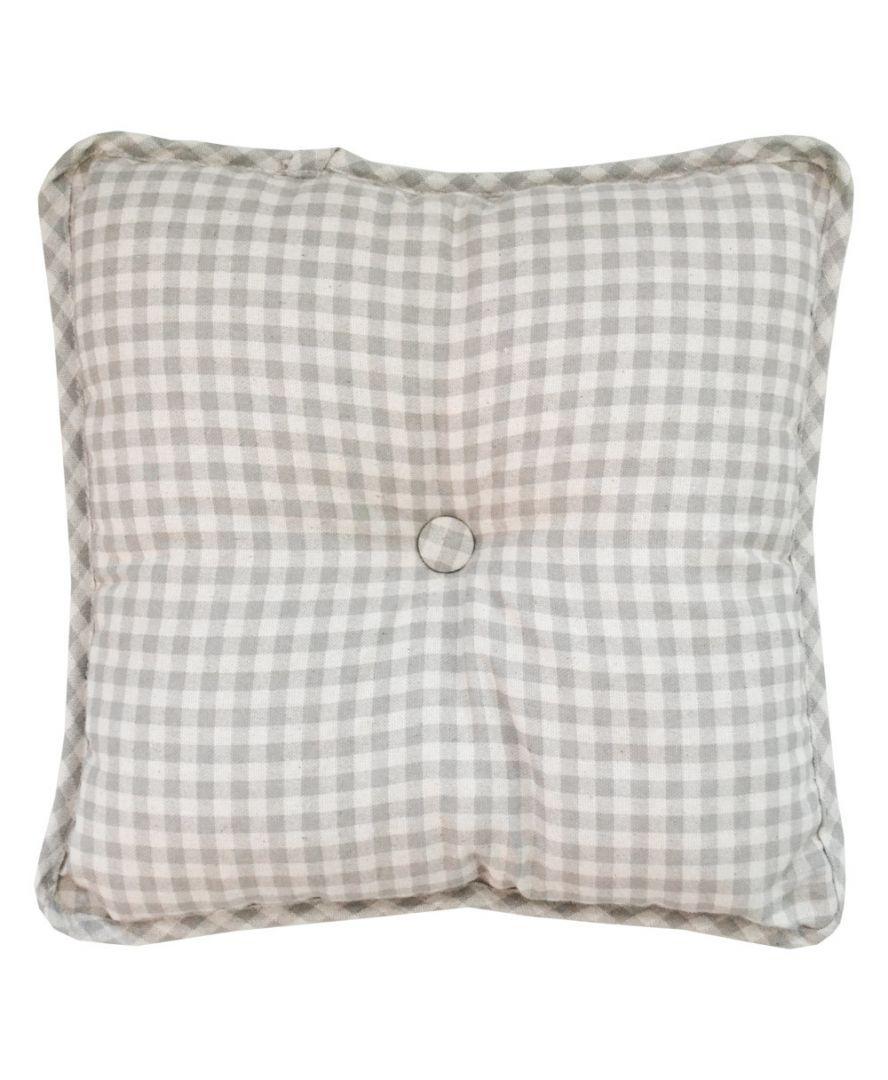 Декоративная подушка с пуговкой Bella Серая клеточка