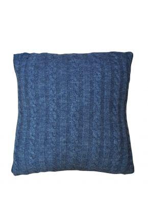 Декоративная подушка в вязаной наволочке Синий меланж