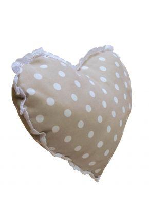 Диванная подушка сердце горох беж