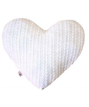 Диванная подушка вязаная белое сердце