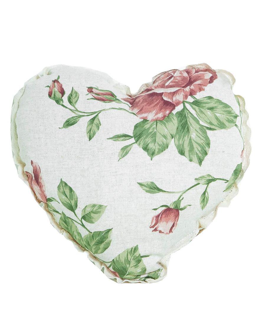 Диванная подушка сердце Large pink rose с кружевом