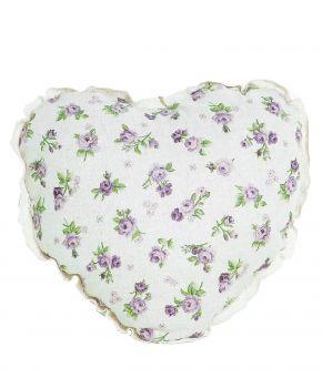 Диванная подушка сердце Lilac Rose с кружевом