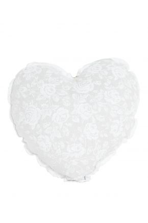 Диванная подушка сердце White rose с кружевом