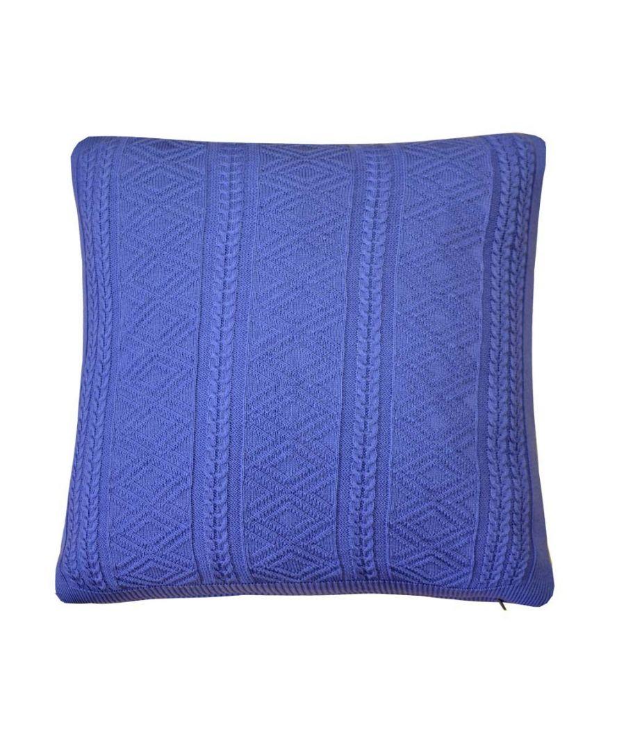 Вязаная подушка Ажурная лавандовая