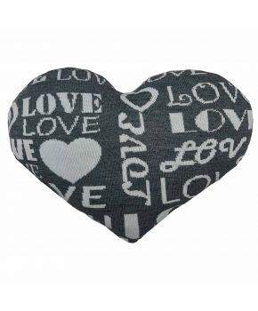 Декоративная подушка вязаная сердце графит