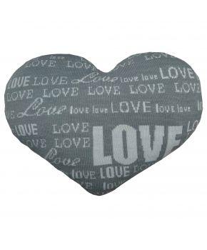 Декоративная подушка вязаная сердце серая