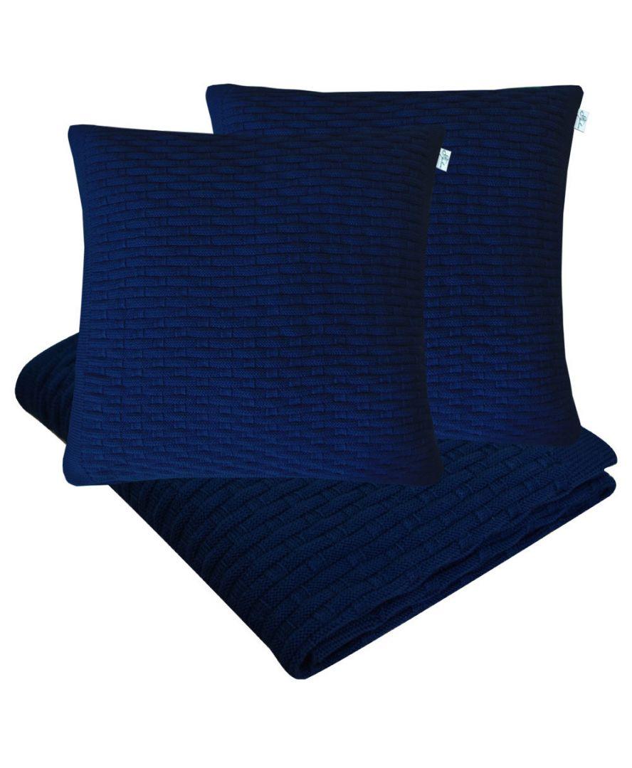 Набор плед и наволочка вязаный Шато темно-синий
