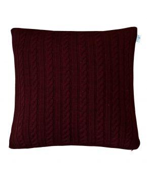 Вязаная подушка косы SOFT бордо