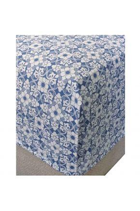 Простынь на резинке поплин Royal blue
