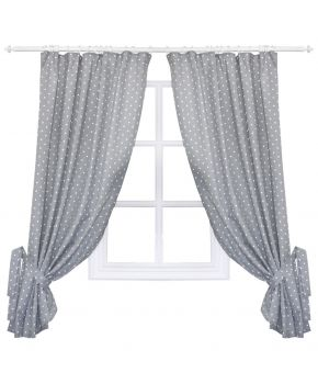 Готовые шторы горох серый