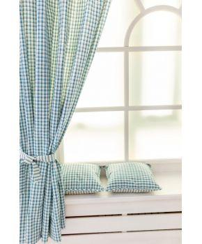 Готовые шторы Кантри синяя клеточка