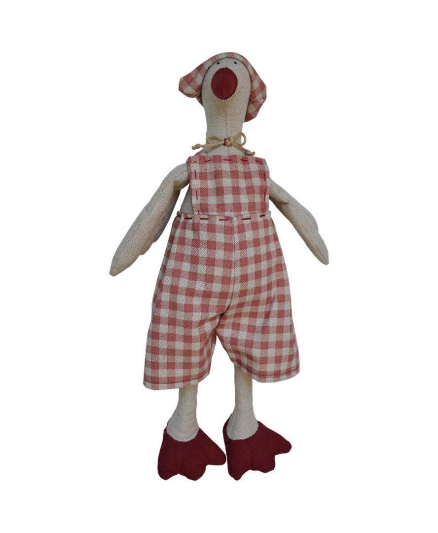 Интерьерная игрушка Гусь Ганс в костюме клеточка