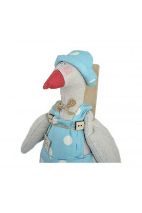 Интерьерная игрушка Гусь в костюме Горох-Тиффани